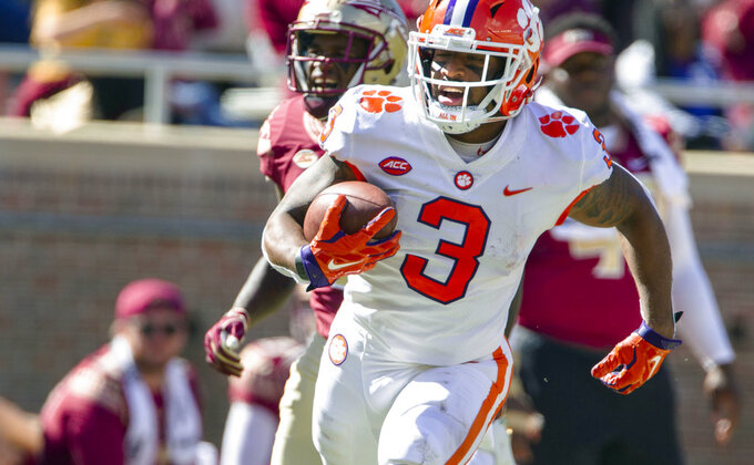Clemson wide receiver Amari Rogers makes a 68 yard reception and run for a touchdown in the second half of an NCAA college football game against Florida State in Tallahassee, Fla., Saturday, Oct.27, 2018. Clemson defeated Florida State 59-10. (AP Photo/Mark Wallheiser)
