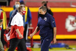New England Patriots head coach Bill Belichick walks off the field after an NFL football game against the Kansas City Chiefs, Monday, Oct. 5, 2020, in Kansas City. The Chiefs won 26-10. (AP Photo/Jeff Roberson)