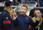 Los Angeles Rams coach Sean McVay, right, talks with Houston Texans coach Bill O'Brien before a preseason NFL football game Thursday, Aug. 29, 2019, in Houston. (AP Photo/Eric Christian Smith)