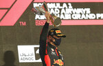 Red Bull driver Max Verstappen of the Netherlands celebrates after he won the Formula One Abu Dhabi Grand Prix in Abu Dhabi, United Arab Emirates, Sunday, Dec. 13, 2020. (AP Photo/Kamran Jebreili, Pool)