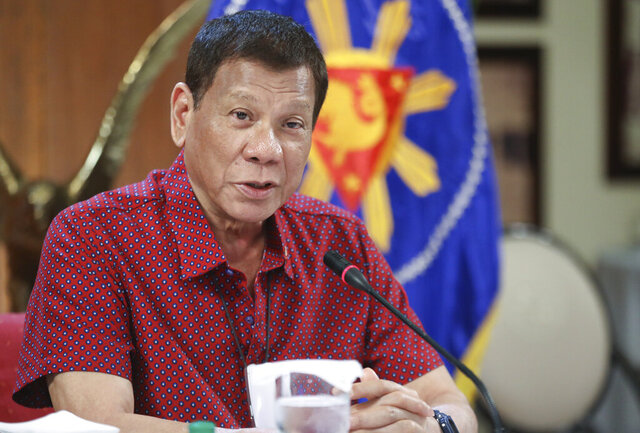 In this photo provided by the Malacanang Presidential Photographers Division, Philippine President Rodrigo Duterte, talks during his speech at the Malacanang presidential palace in Manila, Philippines, Thursday May 28, 2020. The government continues to ease the lockdown which was set to prevent the spread of the new coronavirus in the country. (Ace Morandante/ Malacanang Presidential Photographers Division via AP)