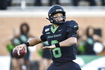 FILE - In this Nov. 30, 2019, file photo, North Texas quarterback Mason Fine throws a pass during the first half of the team's NCAA college football game against UAB in Denton, Texas. Those collegians who never got a full look _ or even a slight glance _ from NFL teams because of the coronavirus pandemic could wind up sinking in the draft, or falling out of it completely. (Jeff Woo/The Denton Record-Chronicle via AP, File)