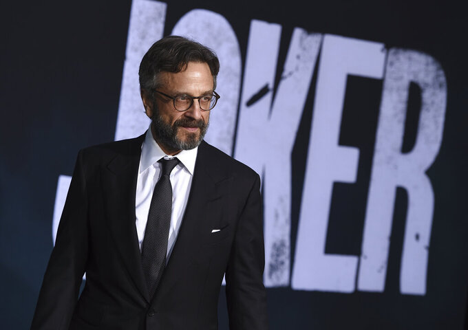 """FILE - Marc Maron arrives at the Los Angeles premiere of """"Joker"""" on Sept. 8, 2019. Maron turns 58 on Sept. 27. (Photo by Jordan Strauss/Invision/AP, File)"""