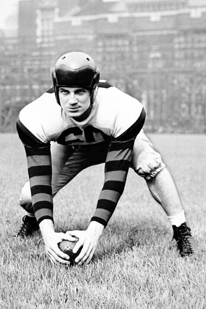 FILE - In this Oct. 27, 1946, file photo, Chuck Bednarik, All-America center at the University of Pennsylvania is shown. Concrete Charlie was the No. 1 overall pick in the 1949 NFL draft and is the league's last full-time two-way player. (AP Photo/File)