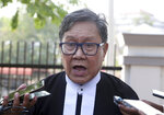 Khin Maung Zaw, a lawyer of two Reuters journalists, Wa Lone and Kyaw Soe Oo, talks to journalists as he leaves the Supreme Court after hearing re-appeal of the two journalists in Naypyitaw, Myanmar, Tuesday, March 26, 2019.  Myanmar's Supreme Court agreed Tuesday to rule on an appeal filed by lawyers for two Reuters journalists sentenced to seven years in prison for their reporting on Myanmar's brutal crackdown on Rohingya Muslims. (AP Photo/Aung Shine Oo)