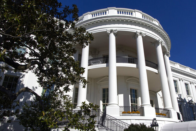 "FILE - In this Nov. 3, 2019, file photo, the south side of the White House is pictured before President Donald Trump arrives. Victoria Coates, a top official on the National Security Council, is being reassigned amid fallout over the identity of the author of the inside-the-White House tell-all book by ""Anonymous.""  (AP Photo/Jon Elswick)"