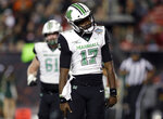 Marshall quarterback Isaiah Green (17) celebrates after his 11-yard touchdown run against South Florida during the first half of the Gasparilla Bowl NCAA college football game Thursday, Dec. 20, 2018, in Tampa, Fla. (AP Photo/Chris O'Meara)