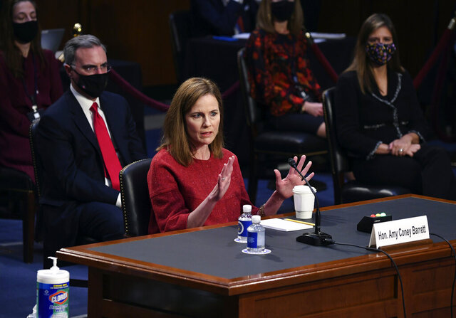 Supreme Court nominee Amy Coney Barrett speaks during a confirmation hearing before the Senate Judiciary Committee, Tuesday, Oct. 13, 2020, on Capitol Hill in Washington. (Kevin Dietsch/Pool via AP)