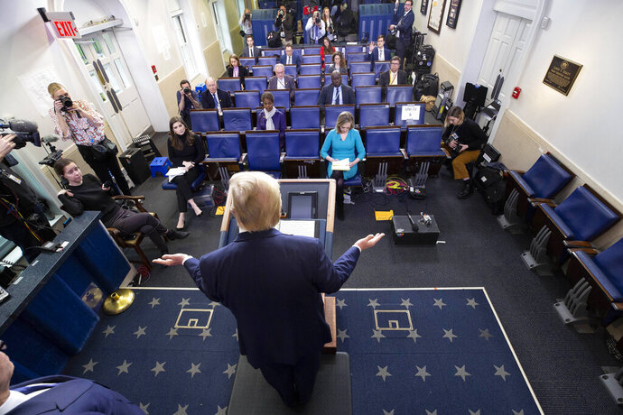 President Donald Trump speaks about the coronavirus in the James Brady Briefing Room, Wednesday, March 25, 2020, in Washington. (AP Photo/Alex Brandon)