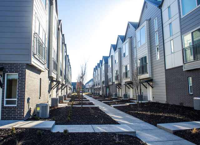Hawthorne Townhomes is a new 220-unit residential project on West Temple and 2852 South in Salt Lake City, seen Tuesday, Dec. 17, 2019.   (Rick Egan/The Salt Lake Tribune via AP)