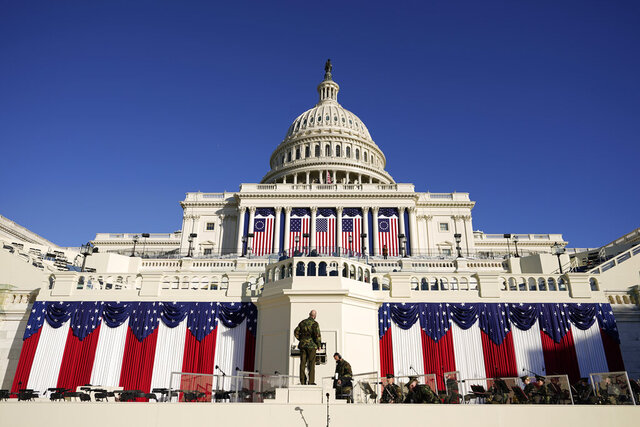 Final preparations are made ahead of the 59th Presidential Inauguration at the U.S. Capitol in Washington, Tuesday, Jan. 19, 2021. (AP Photo/Carolyn Kaster)
