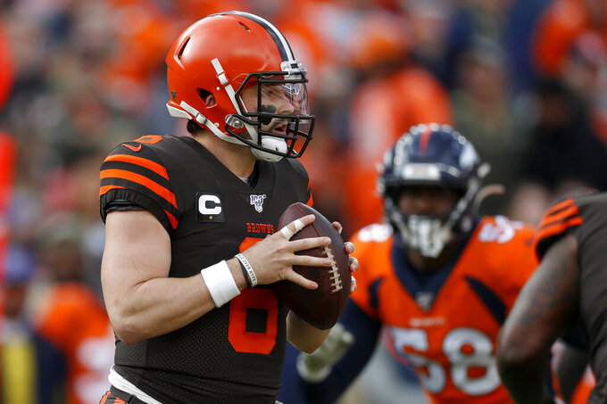 Cleveland Browns quarterback Baker Mayfield (6) looks to pass against the Denver Broncos during the first half of NFL football game, Sunday, Nov. 3, 2019, in Denver. (AP Photo/David Zalubowski)