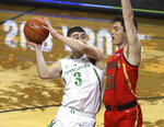 Arizona Oregon's Payton Pritchard, left, is fouled by Arizona's Alex Barcello, right, during the second half of an NCAA college basketball game Saturday, March 2, 2019, in Eugene, Ore. (AP Photo/Chris Pietsch)
