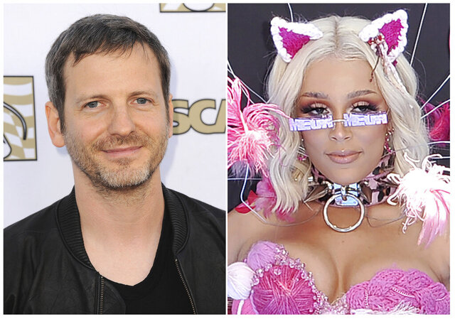 "This combination photo shows Dr. Luke at the 30th Annual ASCAP Pop Music Awards in Los Angeles on April 17, 2013, left, and recording artist Doja Cat at the BET Awards in Los Angeles on June 23, 2019. Music maker Dr. Luke, born Lukasz Gottwald, is marking a comeback with the funky Doja Cat hit ""Say So,"" which topped this week's Billboard Hot 100 chart thanks to its remix featuring rap queen Nicki Minaj.Instead of using his usually stage name, Luke used the moniker TREVOR TRAX. (AP Photo)"