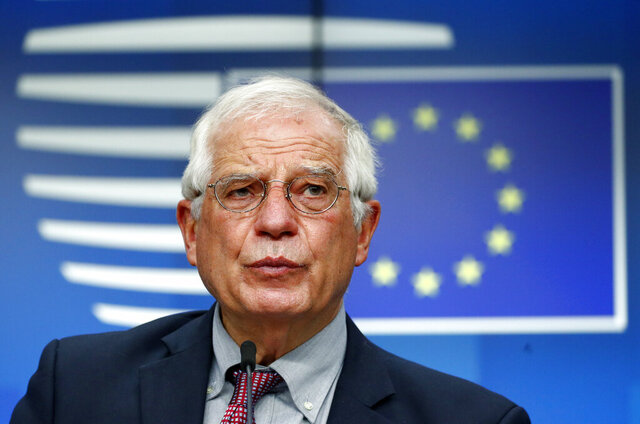 European Union foreign policy chief Josep Borrell speaks during a media conference after a meeting of EU foreign ministers at the European Council building in Brussels, Monday, July 13, 2020. European Union foreign ministers met for the first time face-to-face since the pandemic lockdown and will assess their discuss their relations with China and Turkey. (Francois Lenoir, Pool Photo via AP)