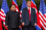 FILE - In this June 12, 2018, file photo, U.S. President Donald Trump, right, meets with North Korean leader Kim Jong Un on Sentosa Island, in Singapore. Kim's threat to show the world a new strategic weapon and possibly resume long-range missile tests is another dramatic turn in his high-stakes summitry with President Donald Trump. (AP Photo/Evan Vucci, File)