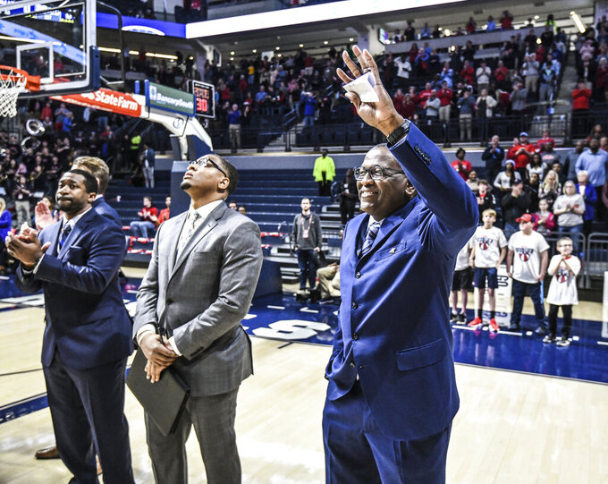 Cal State Bakersfield head coach Rod Barnes, who played and coached at Mississippi, is introduced to the crowd before an NCAA college basketball game, Saturday, Dec, 7, 2019, in Oxford, Miss. (Bruce Newman/The Oxford Eagle via AP)