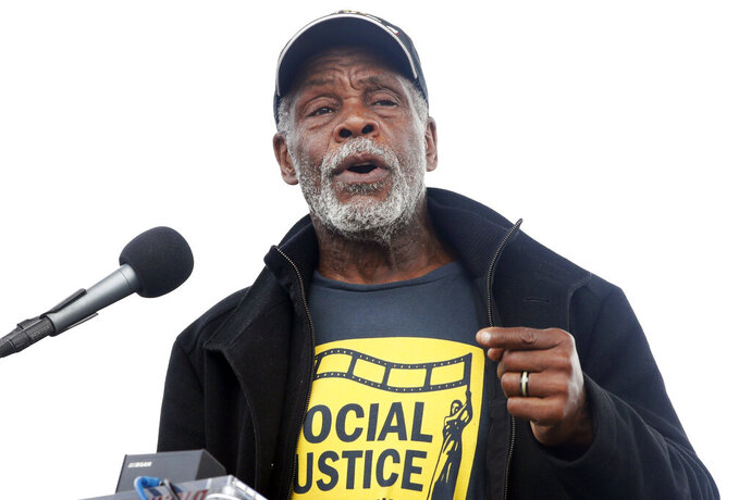 FILE - In this April 4, 2018 file photo, Actor Danny Glover speaks at the A.C.T. To End Racism rally, Won the National Mall in Washington, on the 50th anniversary of Martin Luther King Jr.'s assassination. The topic of reparations for slavery is headed to Capitol Hill for its first hearing in more than a decade with writer Ta-Nehisi Coates and actor Danny Glover set to testify. (AP Photo/Jacquelyn Martin)