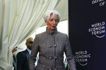 International Monetary Fund Managing Director Christine Lagarde briefs the media arrives for a news conference at the annual meeting of the World Economic Forum, WEF, in Davos, Monday, Jan. 21, 2019. (AP Photo/Markus Schreiber)
