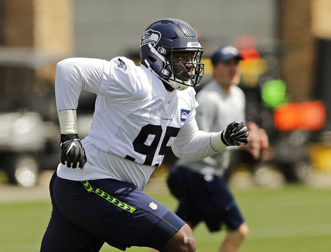 Seattle Seahawks defensive end L.J. Collier runs a drill during NFL football rookie minicamp, Friday, May 3, 2019, in Renton, Wash. (AP Photo/Ted S. Warren)
