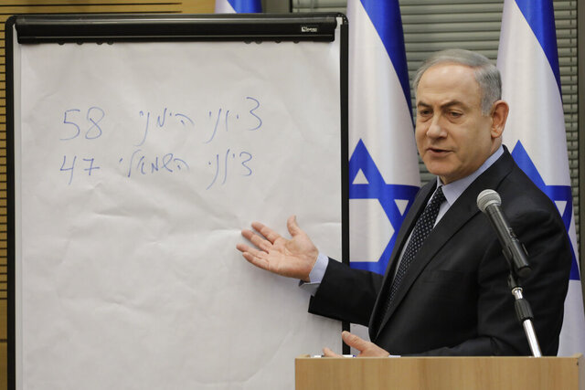Israeli Prime Minister Benjamin Netanyahu explains some elections results during a meeting with his nationalist allies and his Likud party members at the Knesset, Israeli Parliament, in Jerusalem, Wednesday, March 4, 2020. (AP Photo/Sebastian Scheiner)
