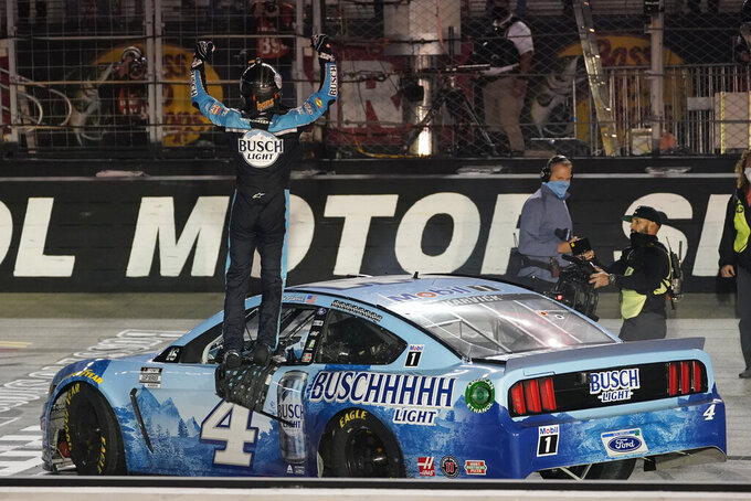 Kevin Harvick celebrates winning the NASCAR Cup Series auto race Saturday, Sept. 19, 2020, in Bristol, Tenn. (AP Photo/Steve Helber)
