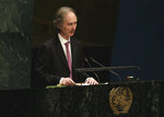 FILE - In this Jan. 22, 2015 file photo, the then Norwegian Ambassador to the U.N. Geir O. Pedersen addresses the United Nations General Assembly. Pedersen arrived in Damascus Tuesday, Jan. 15, 2019 in the first visit since he was appointed as the United Nations' new special envoy for Syria. (AP Photo/Richard Drew, File)