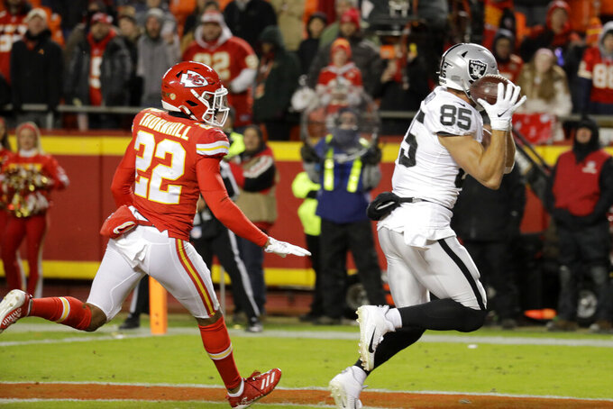 Oakland Raiders tight end Derek Carrier (85) makes a touchdown catch in front of Kansas City Chiefs safety Juan Thornhill (22) during the second half of an NFL football game in Kansas City, Mo., Sunday, Dec. 1, 2019. (AP Photo/Charlie Riedel)