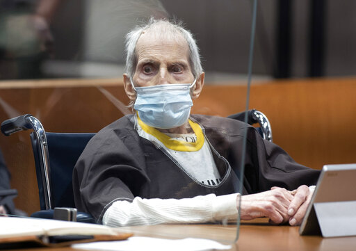Robert Durst is sentenced  to life without possibility of parole for killing Susan Bermann Thursday, Oct. 14, 2021 at the Airport Courthouse in Los Angeles. New York real estate heir Robert Durst was sentenced Thursday to life in prison without chance of parole for the murder of his best friend more that two decades ago. (Myung J. Chung/Los Angeles Times via AP, Pool)