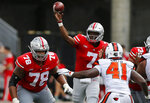 Ohio State quarterback Dwayne Haskins throws a pass against Oregon State during the second half of an NCAA college football game Saturday, Sept. 1, 2018, in Columbus, Ohio. Ohio State beat Oregon State 77-31. (AP Photo/Jay LaPrete)