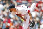 Boston Red Sox's Rick Porcello follows through with a pitch during the first inning of a baseball game against the Baltimore Orioles in Boston, Saturday, April 13, 2019. (AP Photo/Michael Dwyer)
