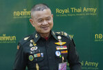 Thailand Army Chief Gen. Narongpan Jittkaewtae attends a press briefing at the Thai Army headquarters in Bangkok, Thailand, Tuesday, Oct. 6, 2020. Narongpan, 57, held his first press conference since becoming army commander on Oct. 1, and made the traditional pledge to defend country, the Buddhist religion, the monarchy and the people, but seemed to take a softer line than his predecessor toward a student-led anti-government protest movement. (AP Photo/Sakchai Lalit)