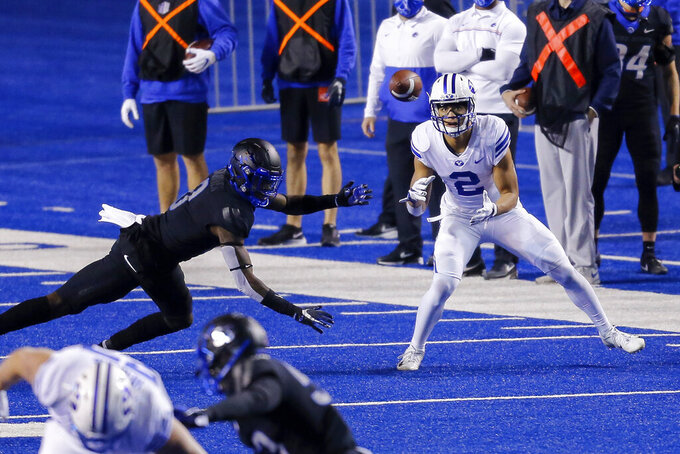 BYU wide receiver Neil Pau'u (2) waits for a pass during the first half of the team's NCAA college football game against Boise State on Friday, Nov. 6, 2020, in Boise, Idaho. (AP Photo/Steve Conner)