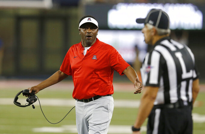 Arizona head coach Kevin Sumlin reacts to an official's call in the first half during an NCAA college football game against Southern Utah, Saturday, Sept. 15, 2018, in Tucson, Ariz. (AP Photo/Rick Scuteri)