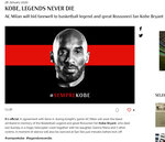 In this screenshot, the page on AC Milan's site, announcing that the AC Milan soccer team will wear black armbands and observe a minute's silence during the Italian Cup game with Torino Tuesday, Jan 28, 2020,  in memory of devout fan Kobe Bryant. Bryant, an 18-time NBA All-Star with the Los Angeles Lakers and a lifelong soccer fan, died Sunday with his 13-year-old daughter, Gianna, in a helicopter crash near Calabasas, California. (AC Milan via AP)