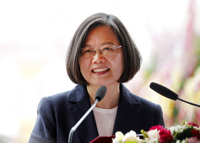 FILE - In this May 9, 2019, file photo, Taiwan's President Tsai Ing-wen delivers a speech in Kaohsiung, southern Taiwan. President Tsai Thursday, July 11, 2019, has departed for a four-country state visit to the Caribbean with stops in the United States on the way there and back. (AP Photo/Chiang Ying-ying, File)