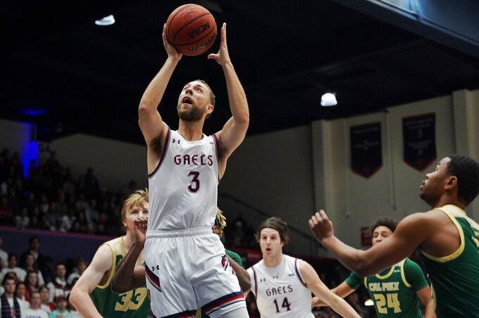 Saint Mary's guard Jordan Ford (3) looks for the basket in the first half against Cal Poly during an NCAA college basketball game on Sunday, Nov. 17, 2019, in Moraga, Calif. (AP Photo/Don Feria)