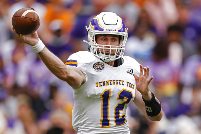 Tennessee Tech quarterback Davis Shanley (12) throws to a receiver during the first half of an NCAA college football game against Tennessee, Saturday, Sept. 18, 2021, in Knoxville, Tenn. (AP Photo/Wade Payne)