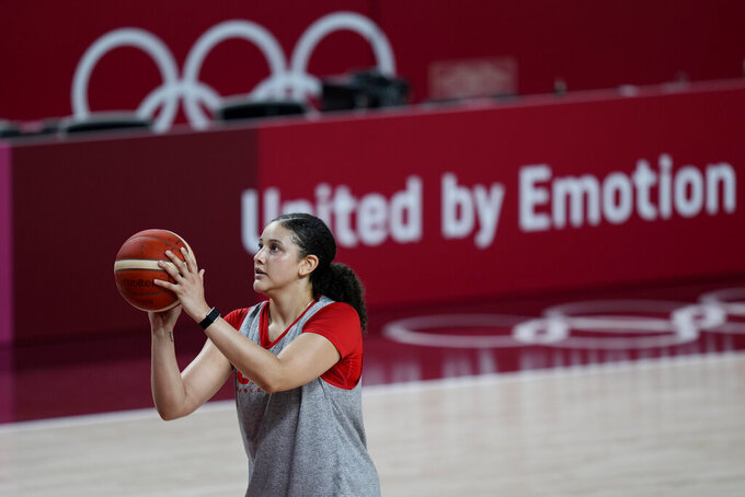Canada's Natalie Achonwa takes part in a women's basketball practice at the 2020 Summer Olympics, Saturday, July 24, 2021, in Saitama, Japan. (AP Photo/Eric Gay)