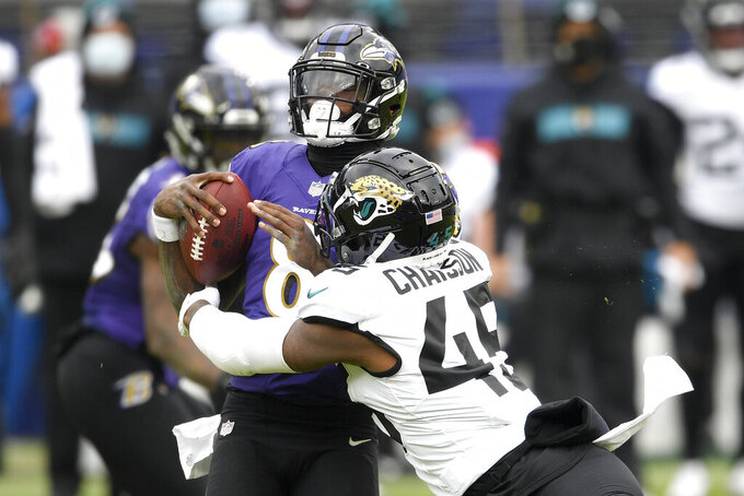 Jacksonville Jaguars linebacker K'Lavon Chaisson (45) sacks Baltimore Ravens quarterback Lamar Jackson (8) during the first half of an NFL football game, Sunday, Dec. 20, 2020, in Baltimore. (AP Photo/Nick Wass)