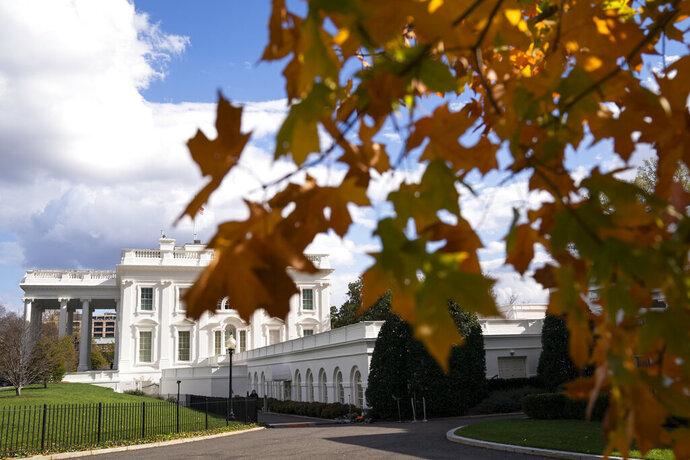 A view of the White House, Tuesday, Nov. 17, 2020, in Washington. (AP Photo/Evan Vucci)