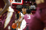 Purdue guard Nojel Eastern (20) brings the ball up court against Florida State in the first half of an NCAA college basketball game at the Emerald Coast Classic in Niceville, Fla., Saturday, Nov. 30, 2019. (AP Photo/Mark Wallheiser)