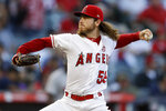 Los Angeles Angels starting pitcher Dillon Peters throws against the Boston Red Sox during the first inning of a baseball game in Anaheim, Calif., Saturday, Aug. 31, 2019. (AP Photo/Chris Carlson)