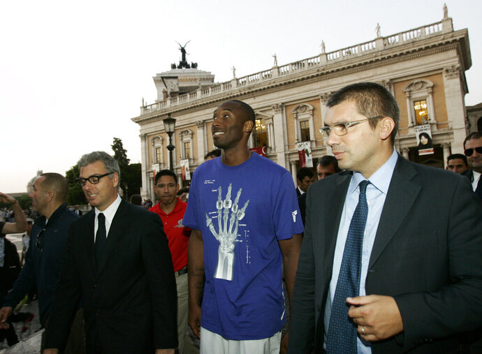 FILE - In this Sept. 29, 2011, file photo, U.S. basketball player Kobe Bryant arrives at the Campidoglio, or capitol hill, in Rome, Italy. In Europe where Bryant grew up, the retired NBA star is being remembered for his