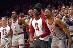 Stanford players celebrate on the bench late in an NCAA college basketball game against Southern California on Wednesday, Feb. 13, 2019, in Stanford, Calif. Stanford won 79-76. (AP Photo/Tony Avelar)