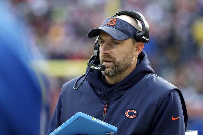 FILE- In this Dec. 16, 2018, file photo, Chicago Bears head coach Matt Nagy watches the action from the sideline during the first half of an NFL football game against the Green Bay Packers in Chicago. After winning the NFC North, the Bears host the Philadelphia Eagles in a wild card game packed with story lines on Sunday, Jan. 6, 2019. (AP Photo/Nam Y. Huh, File)