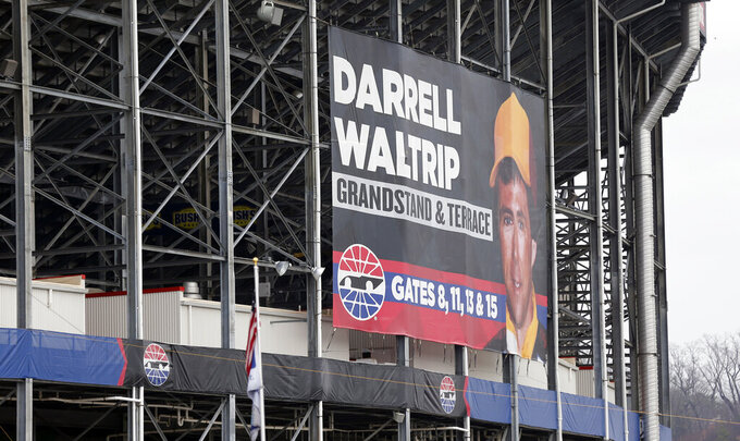 Signage for the Darrell Waltrip grandstand is seen at Bristol Motor Speedway before practice for a NASCAR Cup Series auto race, Friday, April 5, 2019, in Bristol, Tenn. (AP Photo/Wade Payne)