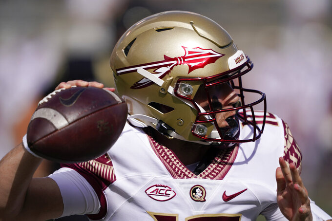 Florida State quarterback McKenzie Milton passes against Wake Forest during the first half of an NCAA college football game Saturday, Sept. 18, 2021, in Winston-Salem, N.C. (AP Photo/Chris Carlson)