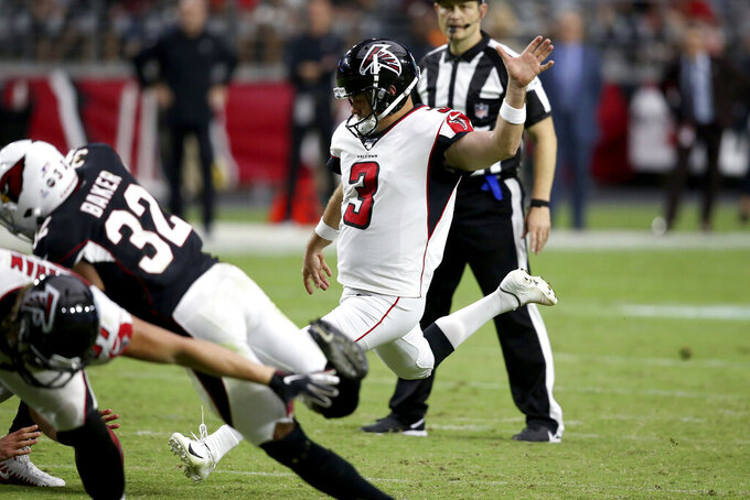 Atlanta Falcons kicker Matt Bryant (3) unsuccessfully attempts a point after during the second half of an NFL football game against the Arizona Cardinals, Sunday, Oct. 13, 2019, in Glendale, Ariz. (AP Photo/Ross D. Franklin)
