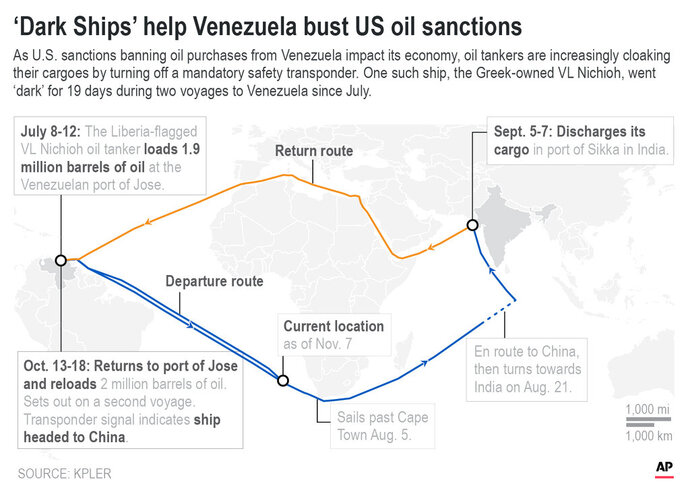 Updates to display Venezuela Oil Tankers Skirting Sanctions in slug; map shows routes of Venezuela oil tankers ducking tightening U.S. sanctions on oil deliveries;